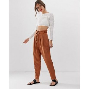 ASOS DESIGN gutsy linen tapered pants with rope belt