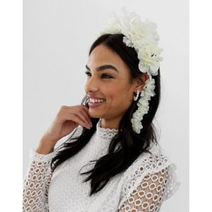 ASOS DESIGN hair crown with statement floral in white