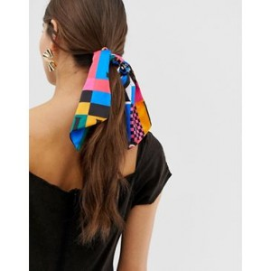 ASOS DESIGN hair scarf in COLORFUL patchwork print