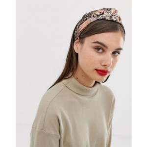 ASOS DESIGN headband with knot front in snake print