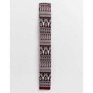 ASOS DESIGN Holidays slim knitted reindeer tie