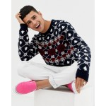 ASOS DESIGN Holidays sweater with festive design in navy