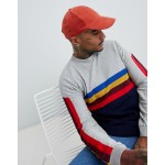 ASOS DESIGN knitted sweater with rainbow chest and sleeve stripes