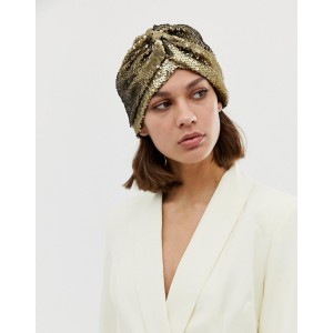 ASOS DESIGN knot front hat in gold sequin