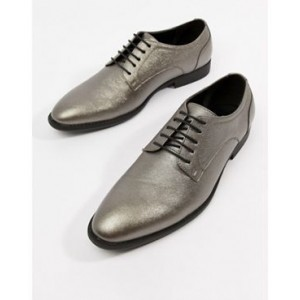 ASOS DESIGN lace up dress shoes in silver faux leather