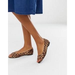 ASOS DESIGN Leadership peeptoe ballet flats in leopard