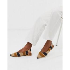 ASOS DESIGN Leanne high vamp slingback ballet flats in stripe