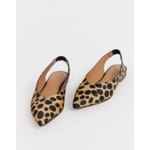 ASOS DESIGN Leanne leather high vamp slingback ballet flats in leopard
