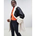 ASOS DESIGN leather look midi aviator