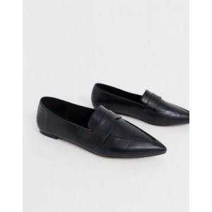 ASOS DESIGN Limber pointed loafer ballet flats in black