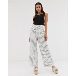 ASOS DESIGN linen wide leg pants with paperbag waist and belt in stripe