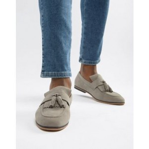 ASOS DESIGN loafers in gray faux suede with fringe