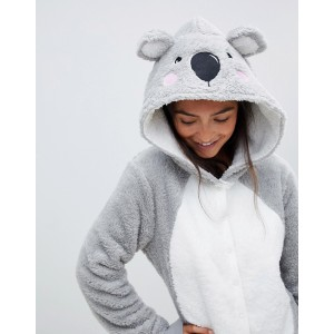 ASOS DESIGN lounge koala hooded onesie with ears