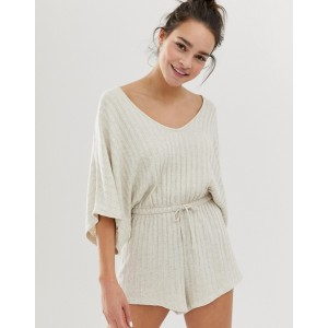ASOS DESIGN lounge ribbed short romper