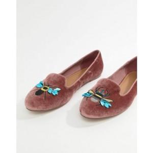 ASOS DESIGN Luna Bug Embroidered Ballet Flats