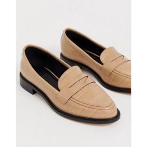ASOS DESIGN Mantra loafer flat shoes in croc