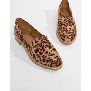 ASOS DESIGN Mantra loafer flat shoes in leopard