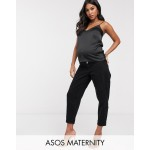 ASOS DESIGN Maternity balloon boyfriend jeans in clean black with side bump bands