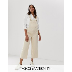 ASOS DESIGN Maternity denim overall with wide leg in stone