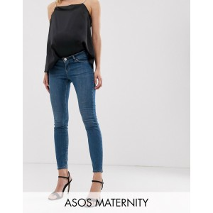 ASOS DESIGN Maternity lisbon mid rise skinny Jeans in bright blue wash with over the bump waistband