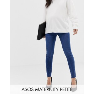 ASOS DESIGN Maternity Petite Ridley high waist skinny jeans in dark stone wash with raw hem with under the bump band