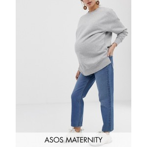 ASOS DESIGN Maternity Recycled Florence authentic straight leg jeans in mid vintage blue with side bump bands