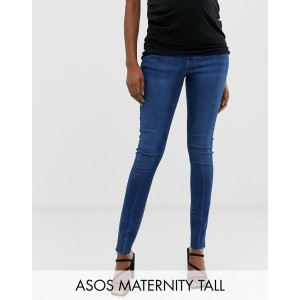 ASOS DESIGN Maternity Tall Ridley high waist skinny jeans in dark stone wash with raw hem with under the bump band