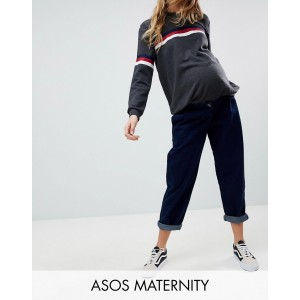 ASOS DESIGN Maternity tapered boyfriend jeans with curved seams in indigo wash with over the bump waistband