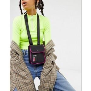 ASOS DESIGN messenger bag with neon piping
