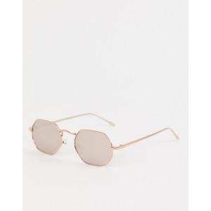 ASOS DESIGN metal hexagon sunglasses in rose gold