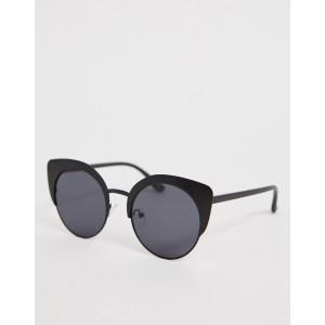 ASOS DESIGN metal kitten sunglasses in matt black