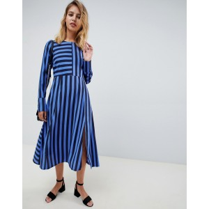 ASOS DESIGN midi dress in cut about stripe with long sleeves