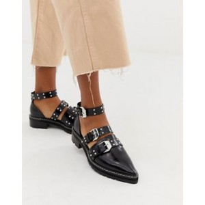 ASOS DESIGN Mile End premium studded pointed leather flat shoes
