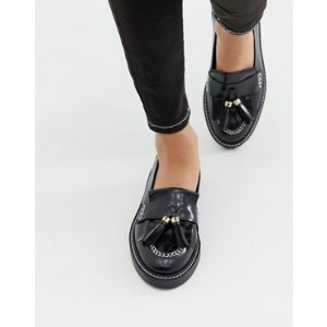 ASOS DESIGN Militant premium chunky leather loafer flat shoes