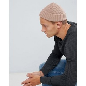 ASOS DESIGN mini fisherman beanie in stone rib knit