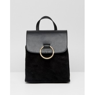 ASOS DESIGN mini suede and leather mix ring backpack