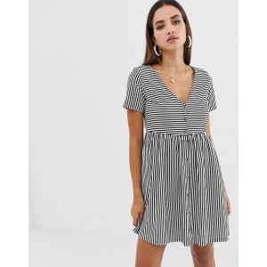 ASOS DESIGN mini v neck button through smock dress in stripe