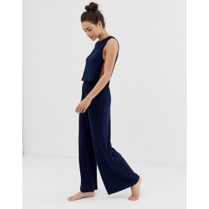 ASOS DESIGN mix & match lounge ribbed wide leg pants