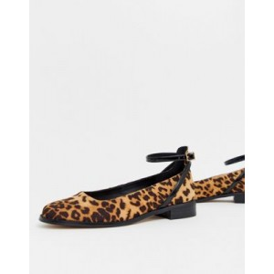 ASOS DESIGN Molly flat shoes in leopard