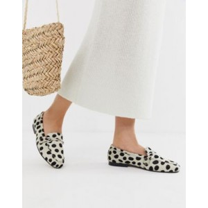 ASOS DESIGN Moment leather loafers in animal print
