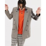 ASOS DESIGN oversized double breasted blazer in brown check