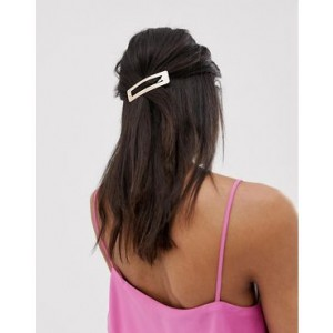 ASOS DESIGN oversized snap hair clip in gold
