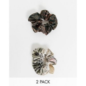 ASOS DESIGN pack of 2 scrunchies in mixed snake prints
