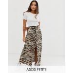 ASOS DESIGN Petite button front maxi skirt in tiger print