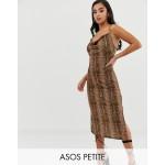 ASOS DESIGN Petite cowl front midi slip dress in snake print