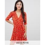 ASOS DESIGN Petite ditsy print plisse mini dress with button detail