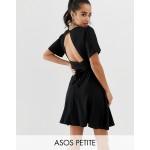 ASOS DESIGN Petite flutter sleeve wrap waist tea dress