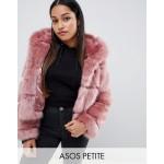 ASOS DESIGN Petite hooded faux fur coat
