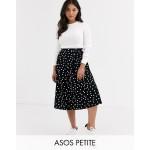 ASOS DESIGN Petite midi skirt with box pleat in polka dot print