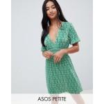 ASOS DESIGN Petite mini ditsy print plisse dress with shirred waist